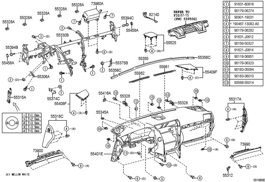 lexus instrument panel glove compartment. Black Bedroom Furniture Sets. Home Design Ideas