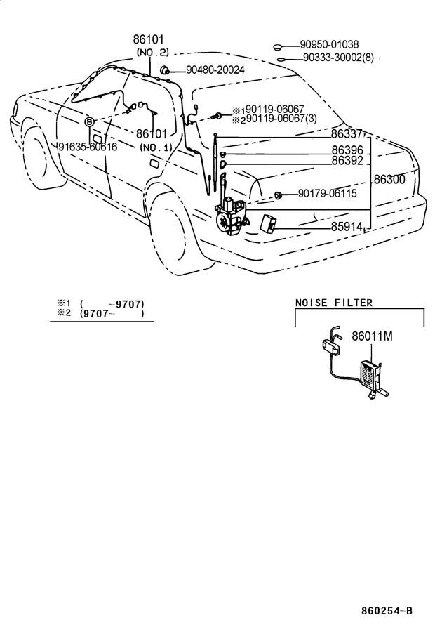 1997 lexus ls400 sedan antenna