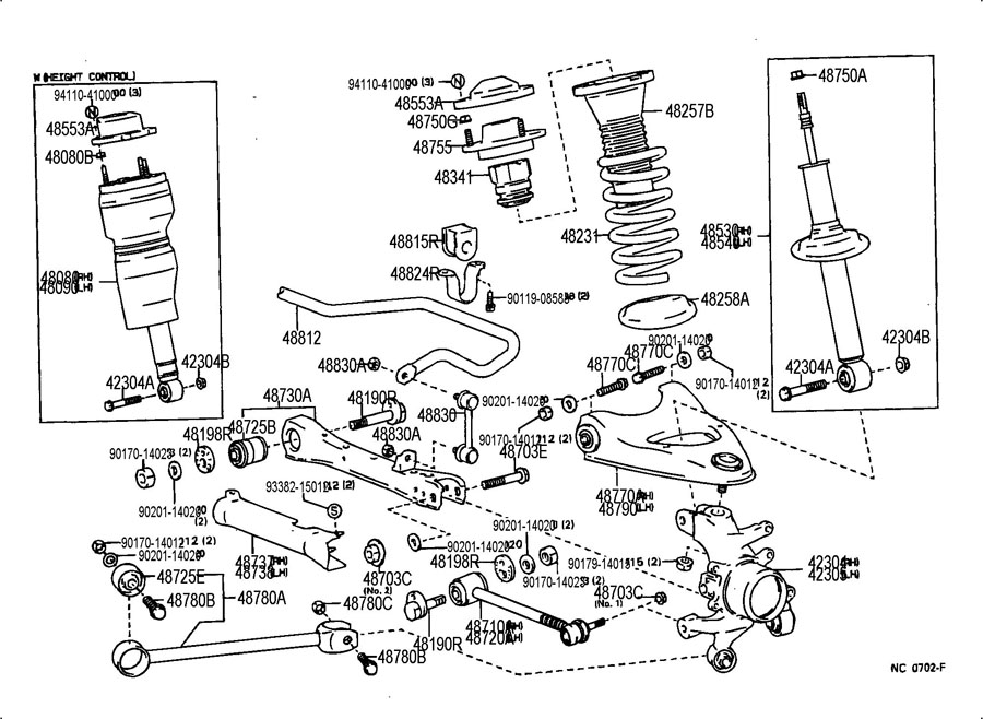 lexus ls400 rear suspension diagram