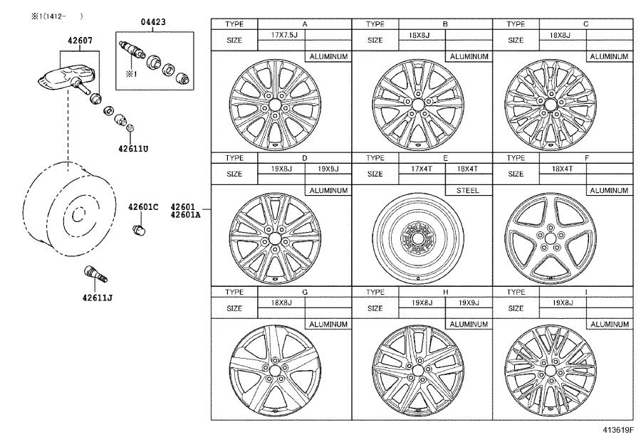 Diagram DISC WHEEL & WHEEL CAP for your Lexus GS 200t
